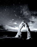 Stars Over Delicate Arch Black and White_